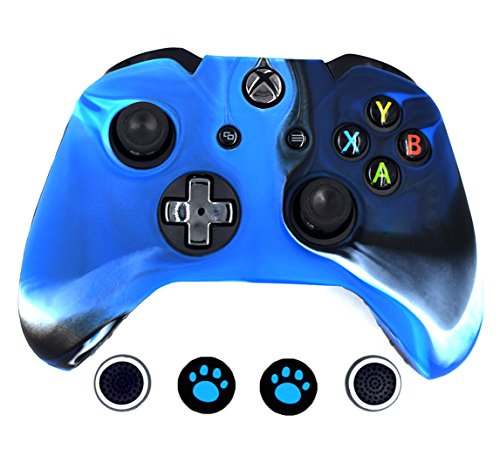 Taifond Anti-Slip Silicone Controller Cover Protective Skins for Microsoft Xbox One Controller with Four Thumb Grip Caps(Camouflage Blue) (Xbox 360 Remote Skins)