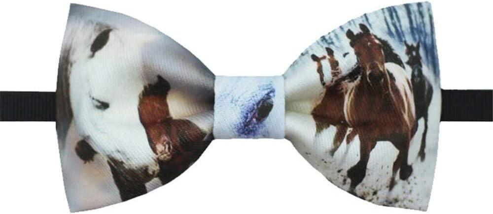Udol Pajarita Formal Caballos Salvajes Corbata Mariposa impresión Lazo de la Manera Salvaje Ceremonia de Matrimonio Exquisita del Vestido de Novia Pajarita pre-Atada Ajustable