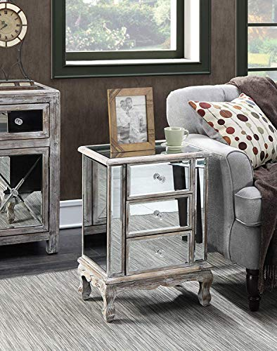 Convenience Concepts Gold Coast Collection 3-Drawer Mirrored End Table, Weathered White