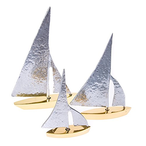 EliteCrafters Handmade Solid Brass & Aluminum Metal, Sailboat Set of 3, Silver Hammered Sail Design, Nautical Decor Ornaments - Small, Medium & Large ()