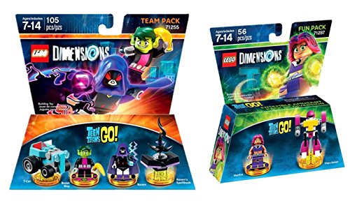 Lego Dimensions: Teen Titans Go Team Pack Bundle Set - Beast Boy & Raven 71255 & Starfire 71287 - Not Machine Specific