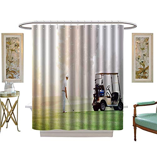 luvoluxhome Shower Curtains 3D Digital Printing Golfer lin up Shot with Iron Club on Golf Course in Fairway at Sunrise Bathroom Set with Hooks W48 x L84 -