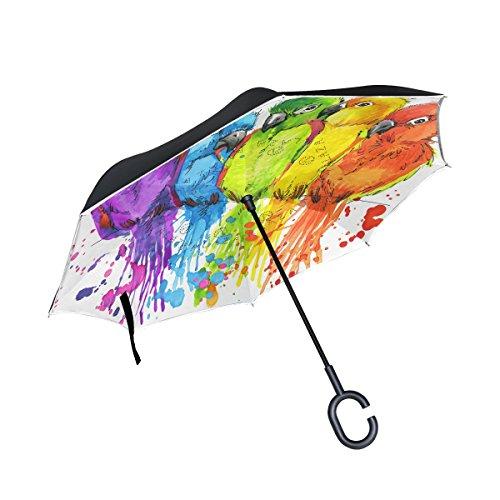 Trikahan Reverse Umbrella, Parrots Watercolor, Outdoor Windproof Double Layer Inverted Umbrella Rain Protection Upside Down Auto Car Reverse UV Umbrellas for Men - Bamboo Pink Parrot