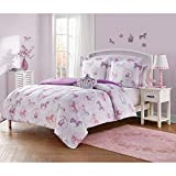 3 Piece Twin Comforter Set, Pretty Glam Style Animal Print Floral Pattern All Over Adorable Looking Unicorns, Ribbons, Fairytales Castle Printed Soft Touch Sparkles Baby Pink Pale Purple White Color
