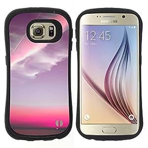 "Hypernova Slim Fit Dual Barniz Protector Caso Case Funda Para Samsung Galaxy S6 [Nubes rosadas Sunset Sky Plano""]"