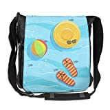 SARA NELL Messenger Bag,hat Flip Flops And Ball With Blue Sea Water,Unisex Shoulder Backpack Cross-body Sling Bag