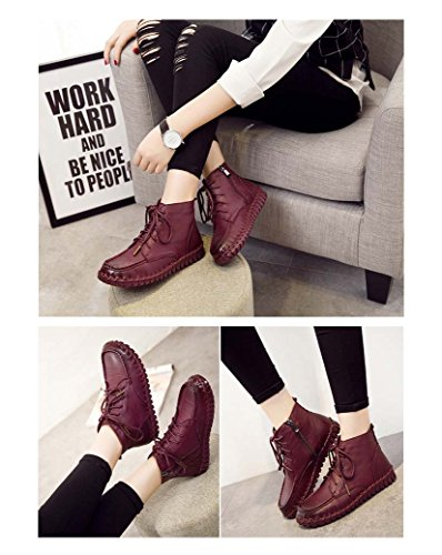 faux Boots Genuine Women's Ankle Lined fur Daily Wine Leather UPSUN xXqgwnA0SX