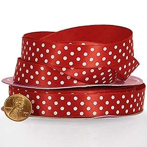 "Red/White Polka Dots Satin Ribbon 3/8"" X 25 Yards"