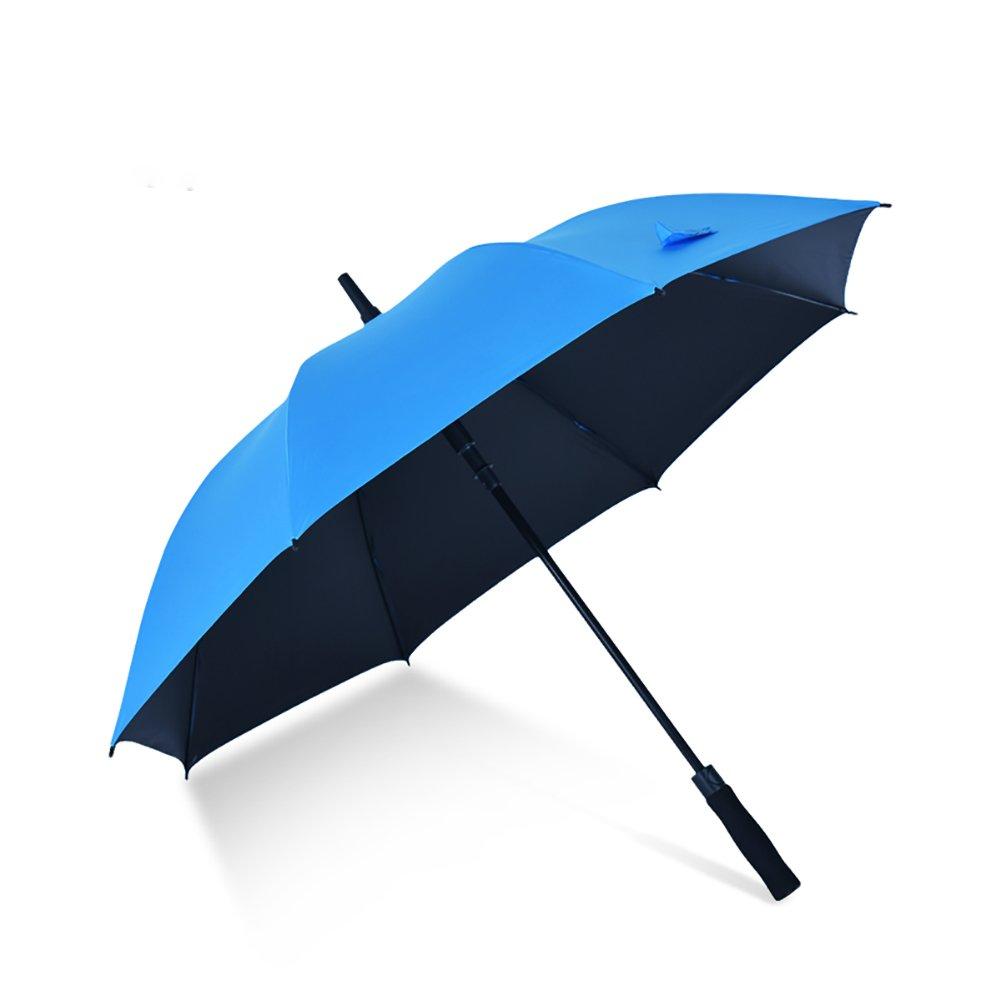 Creative Long Handle Umbrella Black Adhesive Sun-proof Double Use Umbrella (Color : Blue)