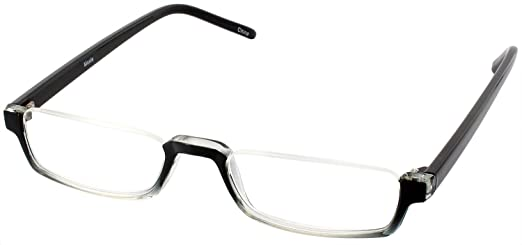 Nu Vue Single Vision Half Frame Reading Glasses, Black Fade, +2.00