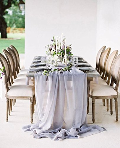 SoarDream Grey Chiffon Table Runners 27x120 inches Sheer Table Runner Wedding Reception Top Table Decoration
