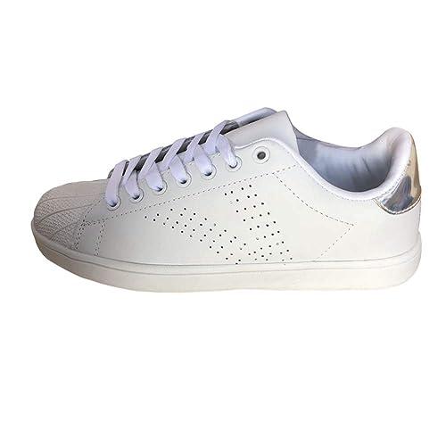 Gtagain Mujer Cuero Moda Zapatillas De Deporte - Señoras Cordones Patinetas Zapatos Low-Top Moda Bombas Zapatillas De Deporte Blanco Zapatos: Amazon.es: ...