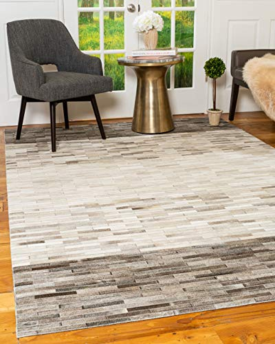 NaturalAreaRugs Hand Loomed Mesa Multi-Color Cowhide Patchwork Leather Rug (8' x 10')