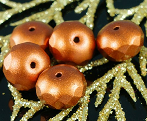 Large Matte Opaque Bronze Czech Glass Rondelle Beads Faceted Fire Polished Beads 14mm x 9mm 6pcs