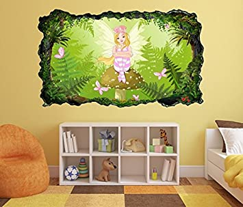 3d Wandtattoo Kinderzimmer Cartoon Elfe Fee Wald Grun Schmetterlinge