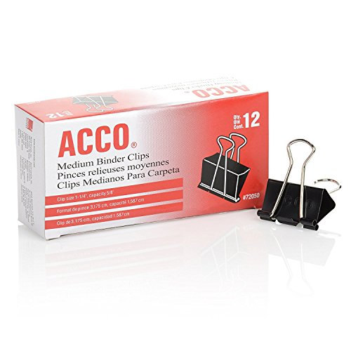 ACCO Binder Clips, Medium, 1 Case, 10 Packs/Case, 2 Boxes/Pack, 12 Binder Clips/Box (A7072062CS)
