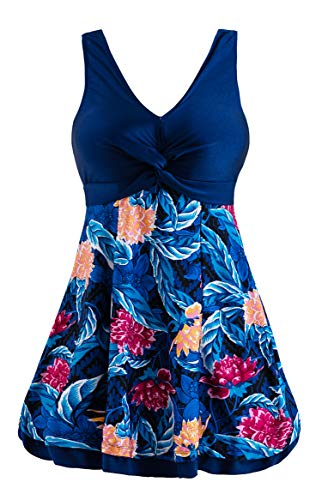 Wantdo Women's Plus Size Swimsuit Cover One Piece Swimwear Sea Flower 16/18 (Best Stores For Plus Size Dresses)