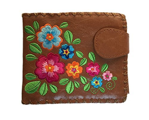 Garden of Flower Vegan / Faux Leather Medium Embroidered Wallet (Brown)