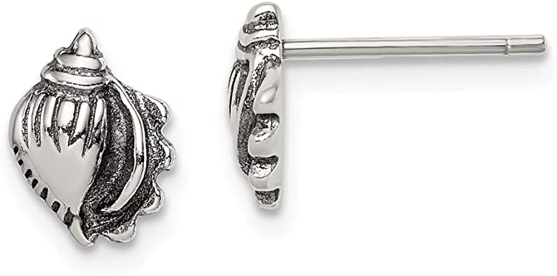 Sterling Silver 925 Stud Earrings with a SEA SHELL Butterfly Backs Boxed