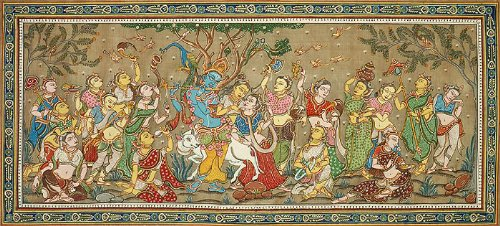 Radha Krishna with Sakhis - Paata Painting on Tussar Silk Fabric - Folk Art from the Temple Town of