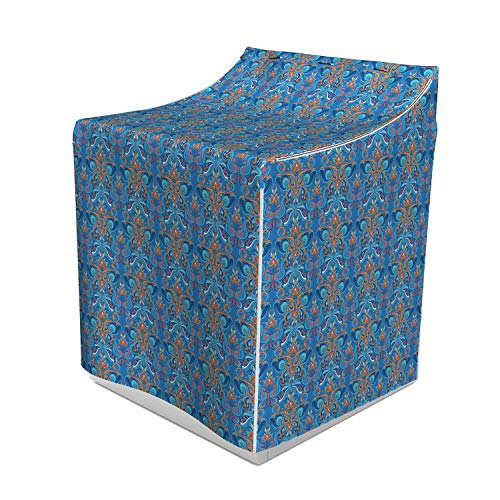 Ambesonne Blue Washer Cover, Abstract Floral Pattern with Paisley Influences Ornate Curls Swirled Leaves, Decorative Accent for Laundromats, 29