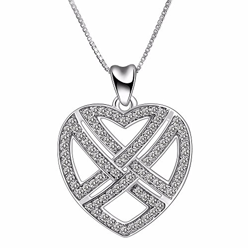 Angemiel 925 Sterling Silver Infinity Love Heart Cross Celtic Knot Vintage Pendant Necklace, Box Chain 18