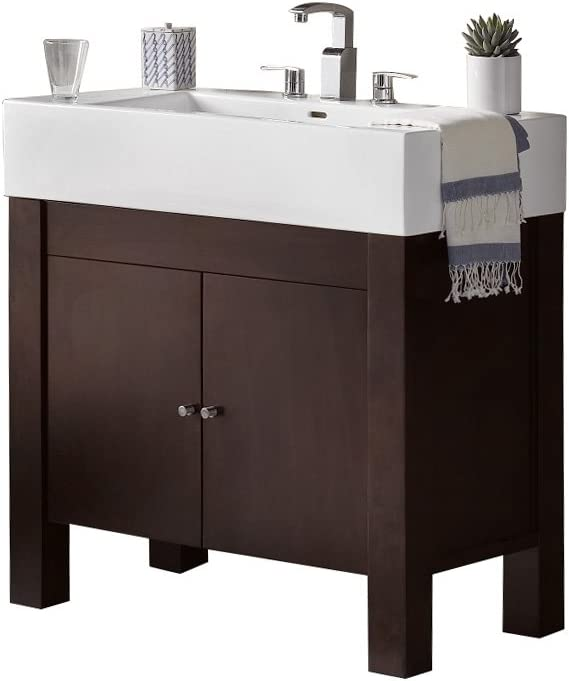 RONBOW Devon 37 inch Single Bathroom Vanity Set in Vintage Walnut, Bathroom Vanity Cabinet with Cabinet Shelf, White Prominent Bathroom Sink Top with 8 inch Widespread Faucet Hole 032536-3-F07_Kit_2