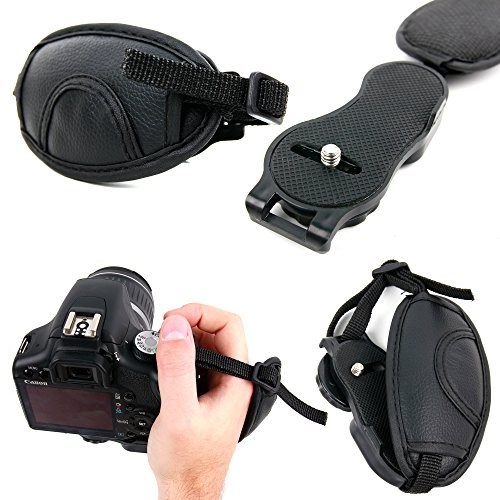 DURAGADGET Black Lightweight Stabilizing Faux Leather Adjustable Hand Strap with 1/4