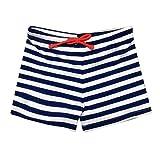 Zerototens Boys Summer Swimming Shorts, Kids Boys Stretch Beach Swimsuit Swimwear High Elastic Cartoon Print Striped Swimwear Trunks Shorts for 1-5 Years Old Kids (4-5 Years Old, White)