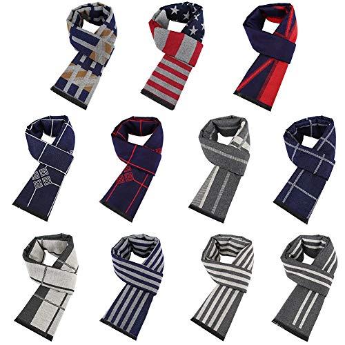 AFfeco Men Fashion Geometric Print Tassel Cotton Short Scarf Collar Scarves