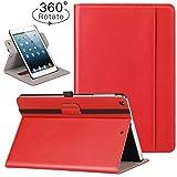 Ztotop iPad Mini 1/2/3 Swivel Case, [360 Rotating] Genuine Leather Folio Stand Case Cover with Multi-Angle Viewing, Pocket, Auto Wake/Sleep for Apple iPad Mini 3/Mini 2/Mini 1 - Red