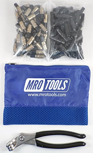 50 3/16 & 50 5/32 Extra Short Cleco Fasteners + Pliers w Mesh Bag (KK4S100-4) by MRO Tools Cleco Fasteners