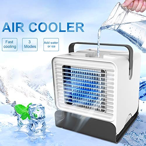 ZDYLM-Y Personal Air Cooler, Mini Portable LED Air Conditioner Fan USB Noiseless Evaporative Air Humidifier for Room Office - 12 Ppm Colour