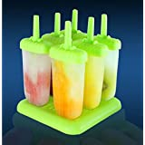 Popsicle Molds - Popsicle Maker BPA-Free Ice Pop Molds Set of 6 from Kitchenne (Green)