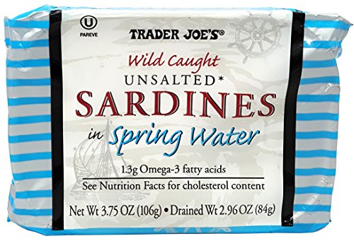 Unsalted Sardines in Spring Water, (Pack of 12), 3.75 oz Tin - Trader Joe's