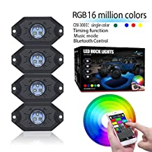 Mictuning 4 Pods RGB LED Rock Lights with Bluetooth Controller Timing Function Music Mode Neon LED Light Kit