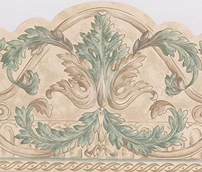 Beige Green Vines Damask Modern Wallpaper Border Victorian Design, Roll 15' x 8.25''