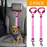 Bwogue 2 Packs Dog Cat Safety Seat Belt Strap Car Headrest Restraint Adjustable Nylon Fabric Dog Restraints Vehicle Seatbelts Harness For Sale