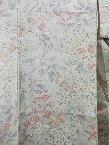 リサイクル 着物 小紋  かわいらしい花文様 正絹 袷 裄65cm 身丈158cm