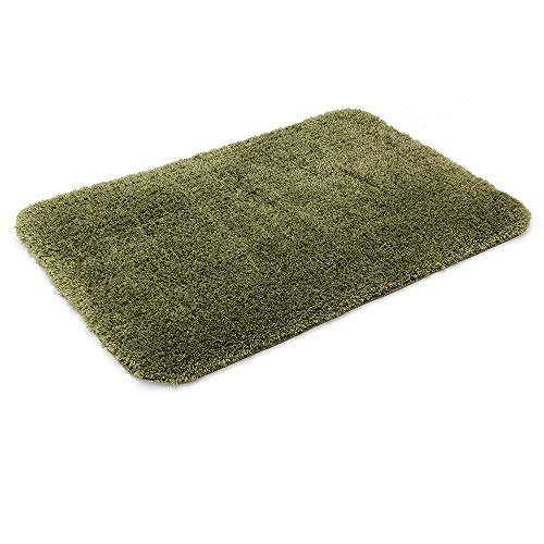 COSYHOMEER 30X20 Inch Bathroom Shower Mat with Super Slim Polyester Fabric Anti Slippery Bath Rugs Which is Machine Washable and Water Absorbent Fuzzy Mat,Green (Green Rug Small)