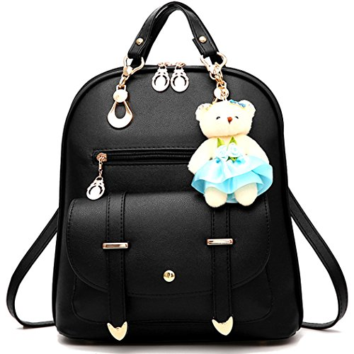 (Backpack Purse for Women Large Capacity Cute Mini Backpack for Girls Pu Leather Bags,Black)