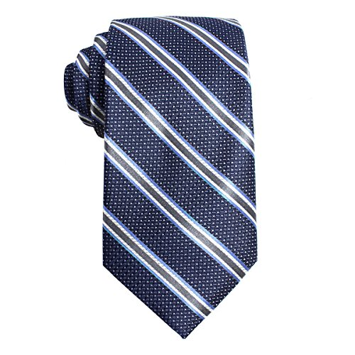 The Men's Store Bloomingdale's 100% Silk Cross Classic Neck Tie Navy Grey - At Mall Stores Marketplace