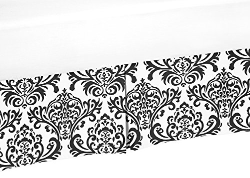 Sweet Jojo Designs Black and White Damask Crib Bed Skirt Dust Ruffle for Girls Isabella Collection Baby Bedding Sets (Collection Isabella Crib Bedding)