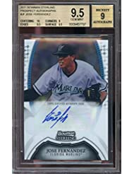 2011 bowman sterling prospect autographs #jf JOSE FERNANDEZ rookie BGS 10 9.5 Graded Card