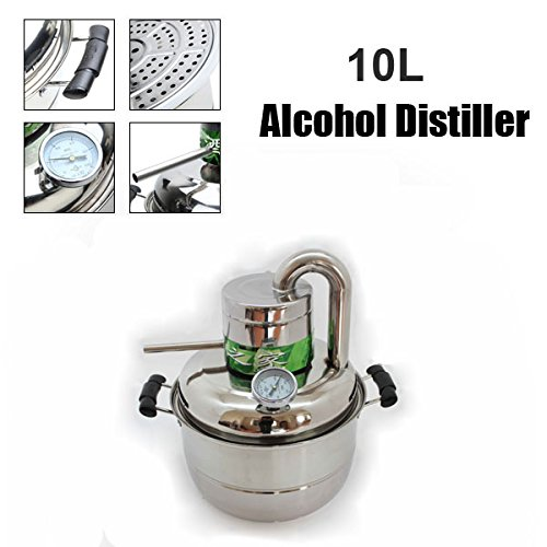 GLAWICK 10 Litre Household Stainless Steel Home Alcohol Distiller Brewing Device Spirits Distillation Boiler