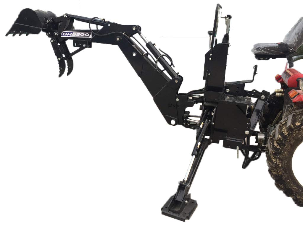 3 Point Hitch PTO BH5600 Hydraulic Farm Tractor Backhoe Attachment Excavator with Bucket, Category 1 MCP-Distributions