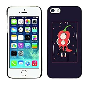 Style Protective Case Hard Shell Cover for Cellphone Iphone 5 5S Character Black Minimalist Chili ka ka case