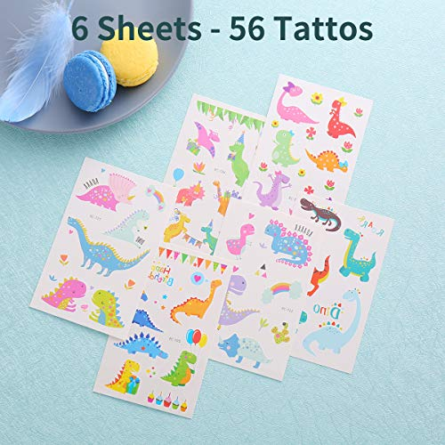 FZR Legend Reusable Dinosaur Drinking Plastic Straws + Dinosaur Temporary Tattoos for Kids | Dinosaur Birthday Party Supplies - Rainbow Dinosaur Party Favors Decorations - Set of 30 with Cleaning Brush