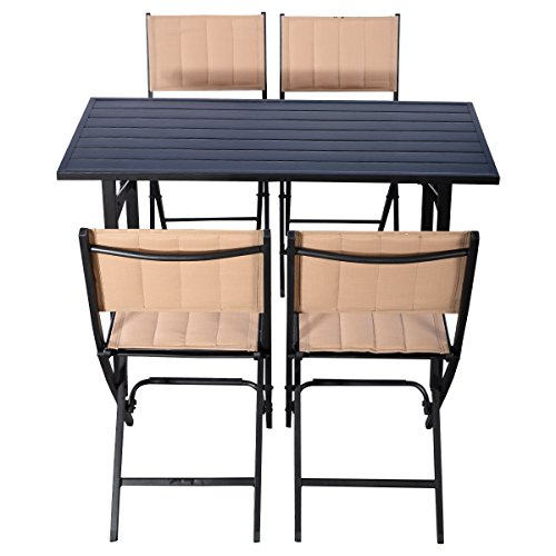 Giantex 5 pcs patio outdoor folding chairs rect table for Poolside table and chairs