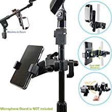 "ChargerCity Music Pro Lyric Pole Bar Microphone Boom Mic Stand mount for Apple iPhone X 8 7 Plus 6s Galaxy S7 S8 Edge Note LG v30 MOTO X Blu Smartphones (Holder opens up to 3.5"")"